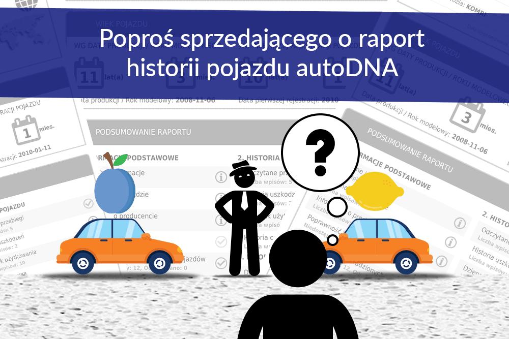 Sprzedającego auto poproś o raport autoDNA albo sam go wygeneruj. Za darmo.